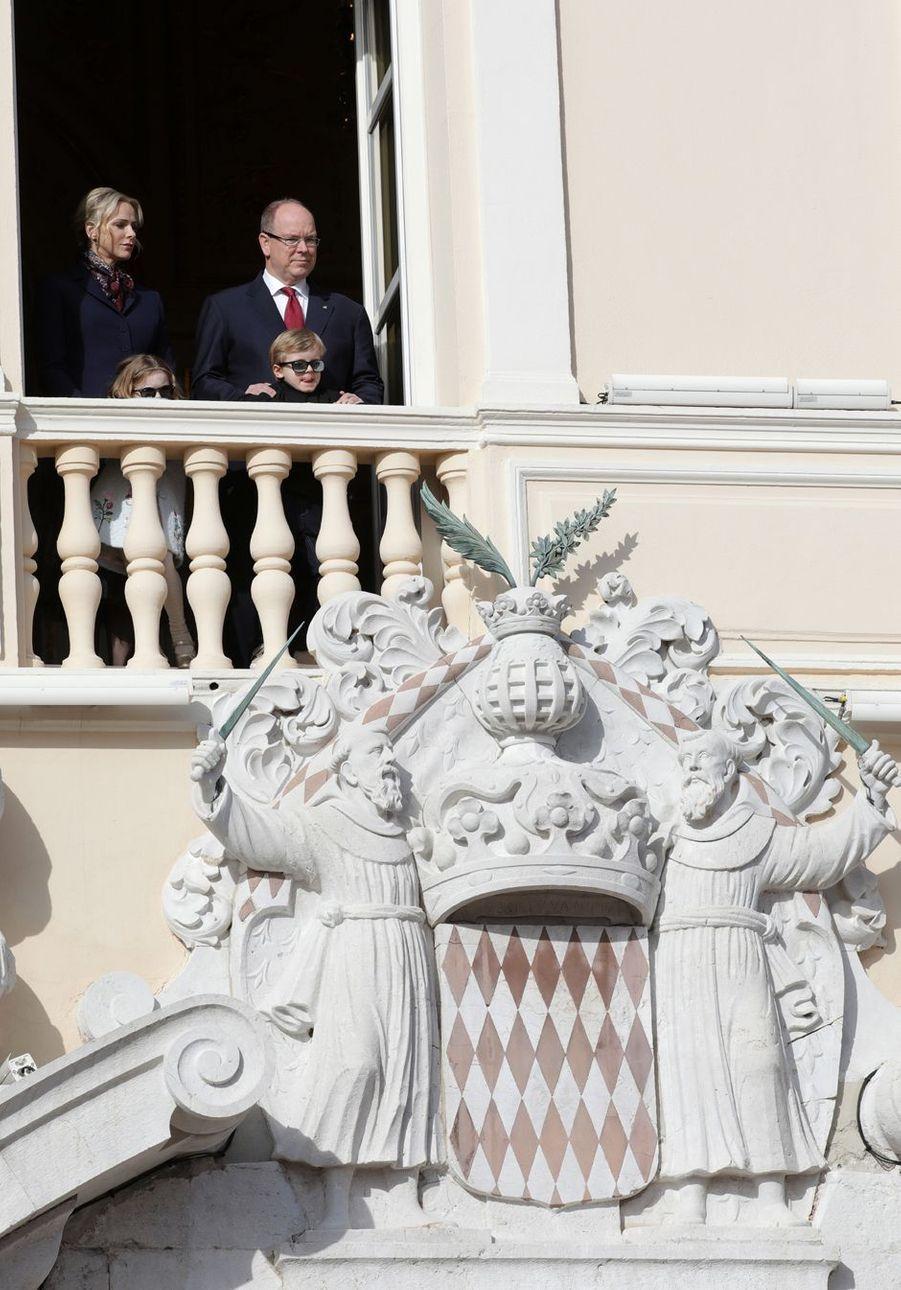 Les princesses Gabriella et Charlène et les princes Jacques et Albert II de Monaco à Monaco, le 27 janvier 2020