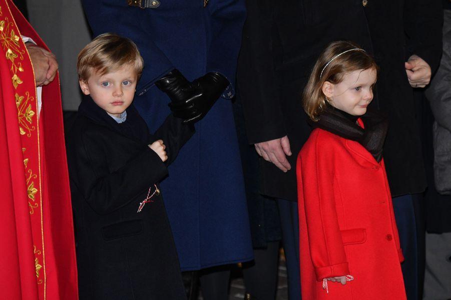 Les jumeaux, le prince Jacques et la princesse Gabriella de Monaco, à Monaco le 26 janvier 2020