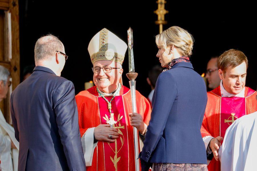 La princesse Charlène et le prince Albert II de Monaco à Monaco, le 27 janvier 2020