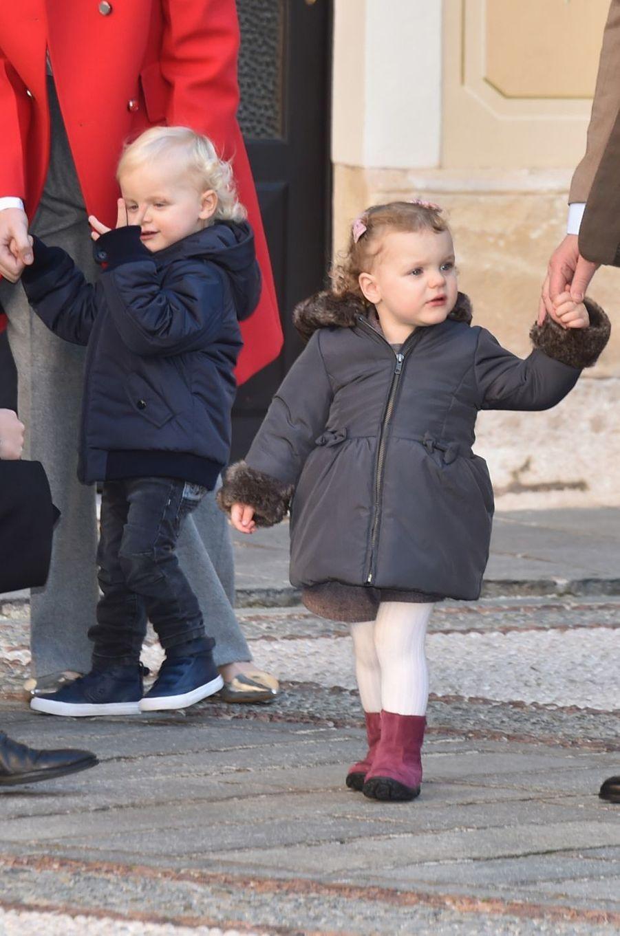 Le prince Jacques et la princesse Gabriella de Monaco, le 14 décembre 2016
