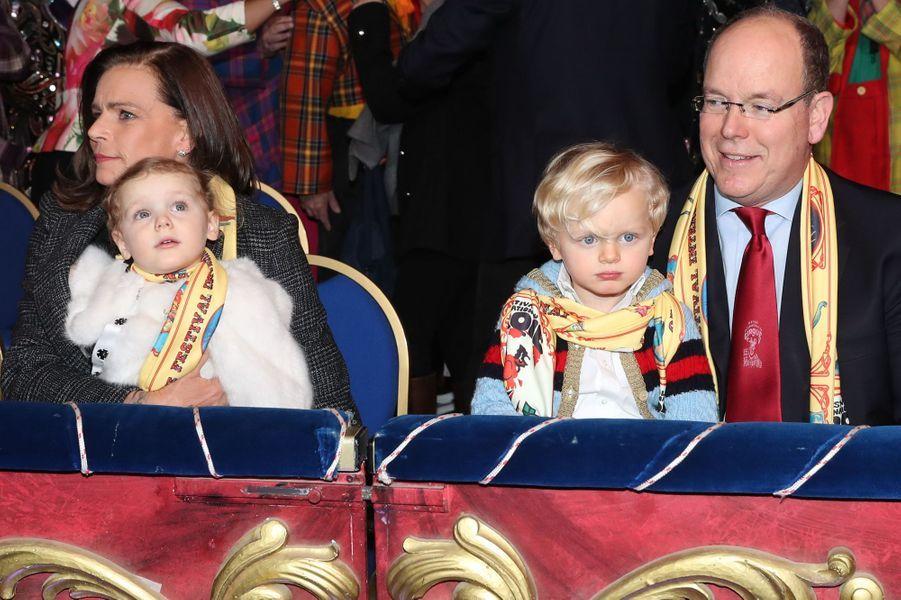 La princesse Gabriella et le prince Jacques de Monaco avec leur tante la princesse Stéphanie et leur père le prince Albert II, le 21 janvier 2018