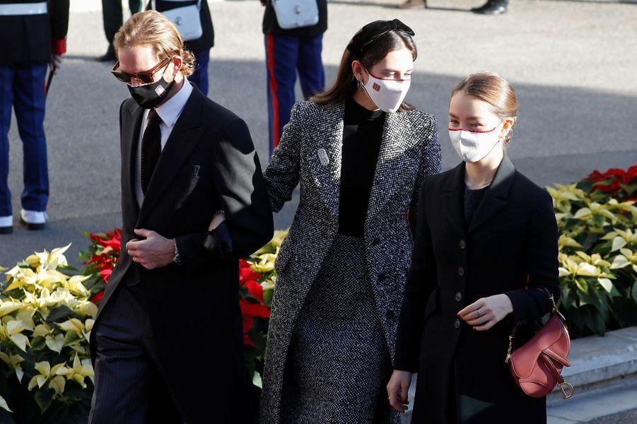 Andrea Casiraghi, sa femme Tatiana Santo Domingo et la princesse Alexandra de Hanovre, à Monaco le 19 novembre 2020