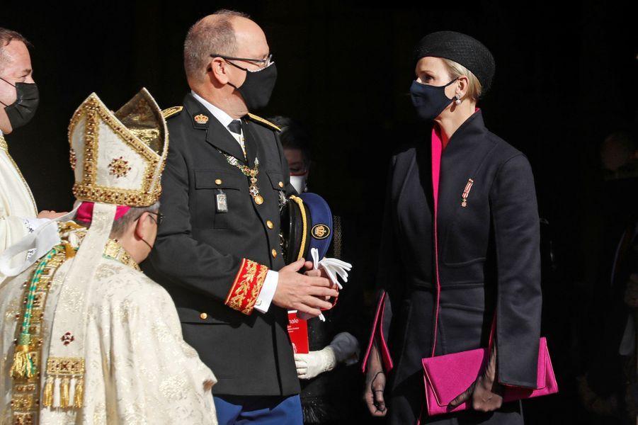 La princesse Charlène et le prince Albert II de Monaco à Monaco, le 19 novembre 2020