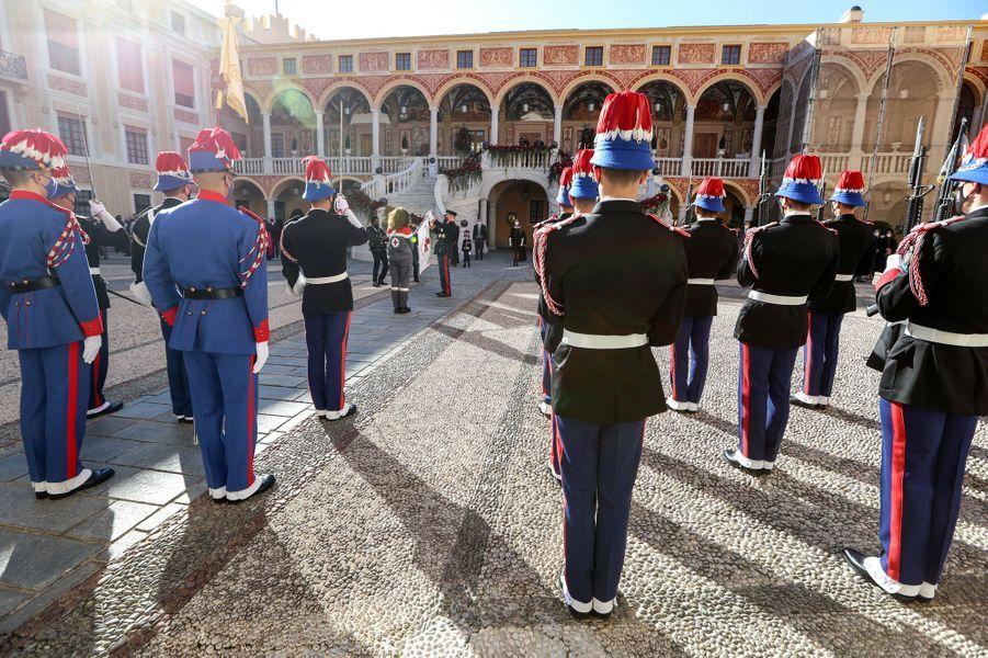 Cérémonie au Palais princier de Monaco pour la Fête nationale, le 19 novembre 2020