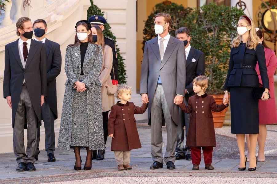 Andrea, Tatiana, Francesco, Pierre, Stefano et Beatrice Casiraghi à Monaco, le 19 novembre 2020