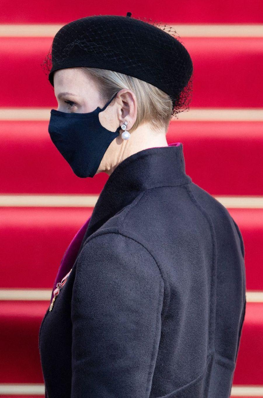 Le chapeau de la princesse Charlène de Monaco à Monaco, le 19 novembre 2020