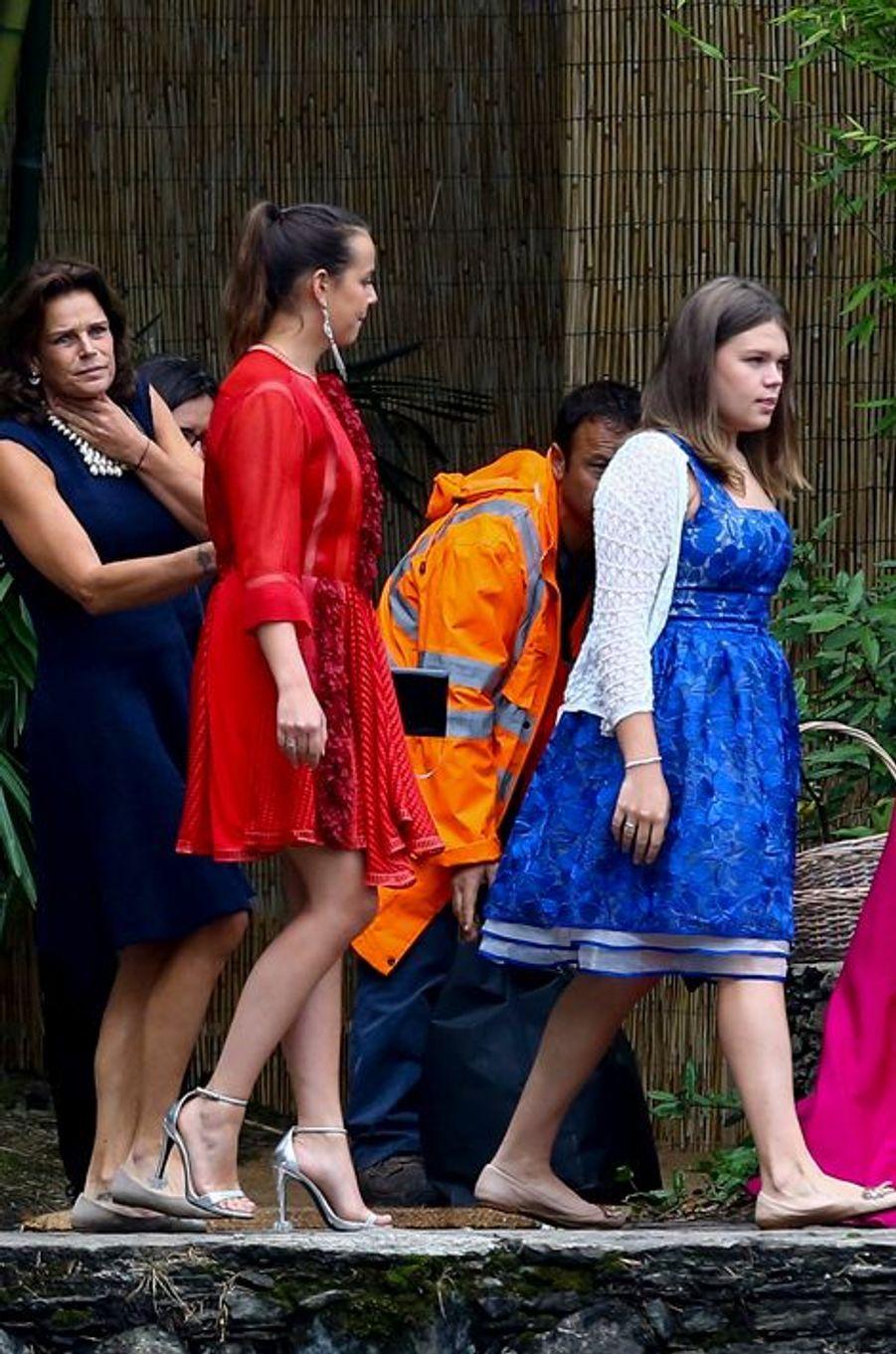 La princesse Stéphanie de Monaco et ses filles Pauline et Camille à Stresa, le 1er août 2015