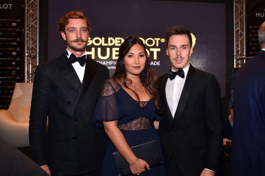 Louis Ducret et Marie Chevallier avec Pierre Casiraghi, le 7 novembre 2017