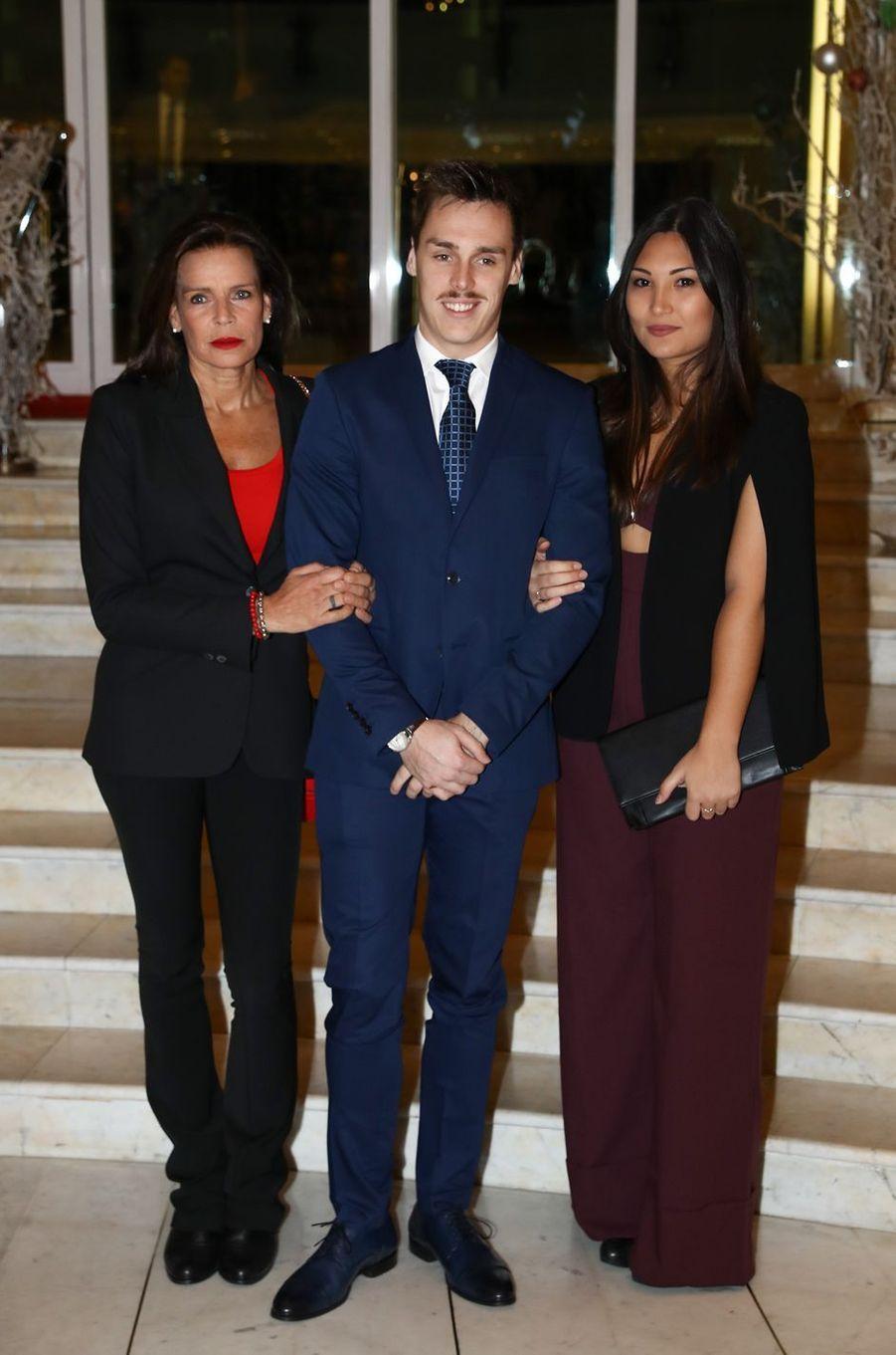Louis Ducret et Marie Chevallier avec la princesse Stéphanie de Monaco, le 1er décembre 2017