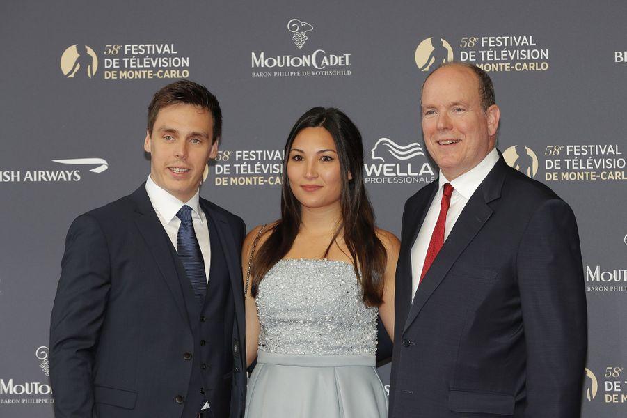 Le prince Albert II de Monaco au côté de Louis Ducruet et Marie Chevallier lors de la soirée d'ouverture du 58e Festival de Télévision de Monte-Carlo au Grimaldi Forum à Monaco le 15 juin 2018