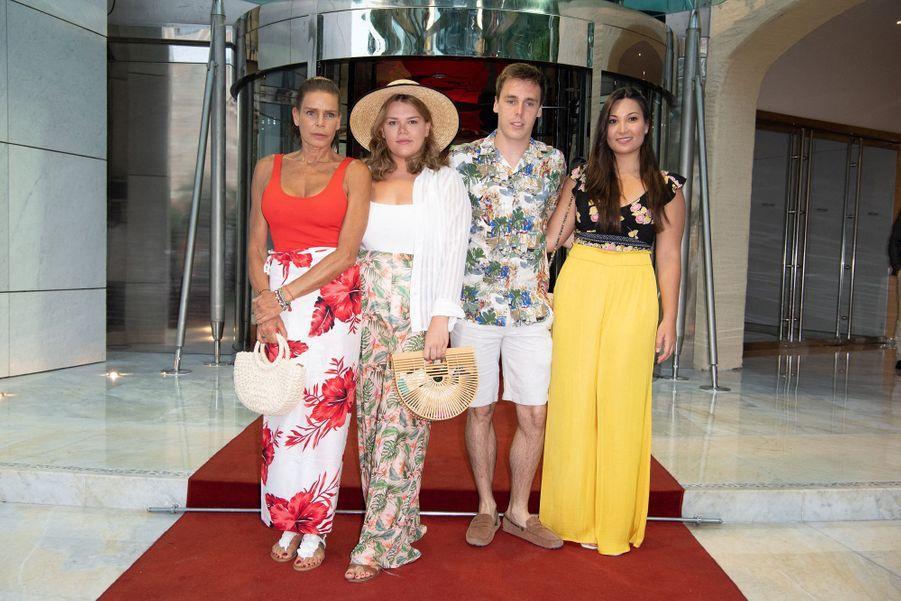 La princesse Stéphanie of Monaco, Camille Gottlieb, Louis Ducruet et sa fiancée Marie Chevallier à Monaco le 13 juillet 2019