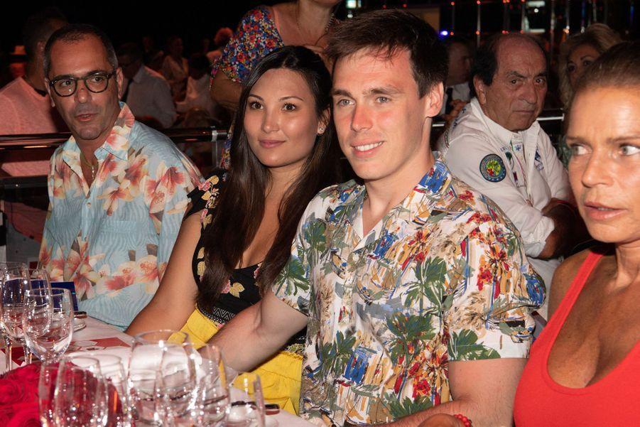 Louis Ducruet, sa fiancée Marie Chevallier et Stéphanie de Monaco à Monaco le 13 juillet 2019