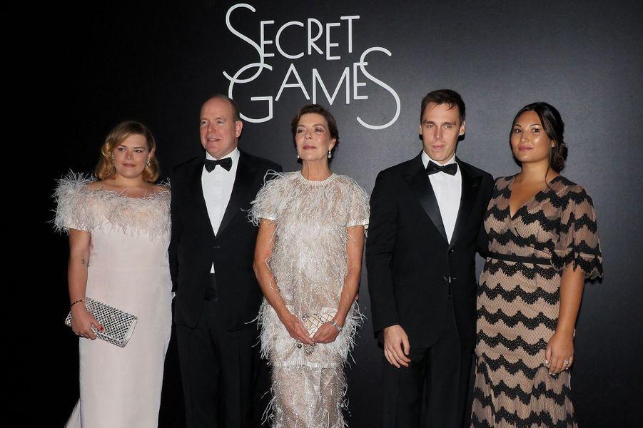 Camille Gottlieb, Albert de Monaco, Caroline de Monaco, Louis et Marie Ducruetlors de la soirée «Secrets Games» au Casino de Monte-Carlo le 5 octobre 2019