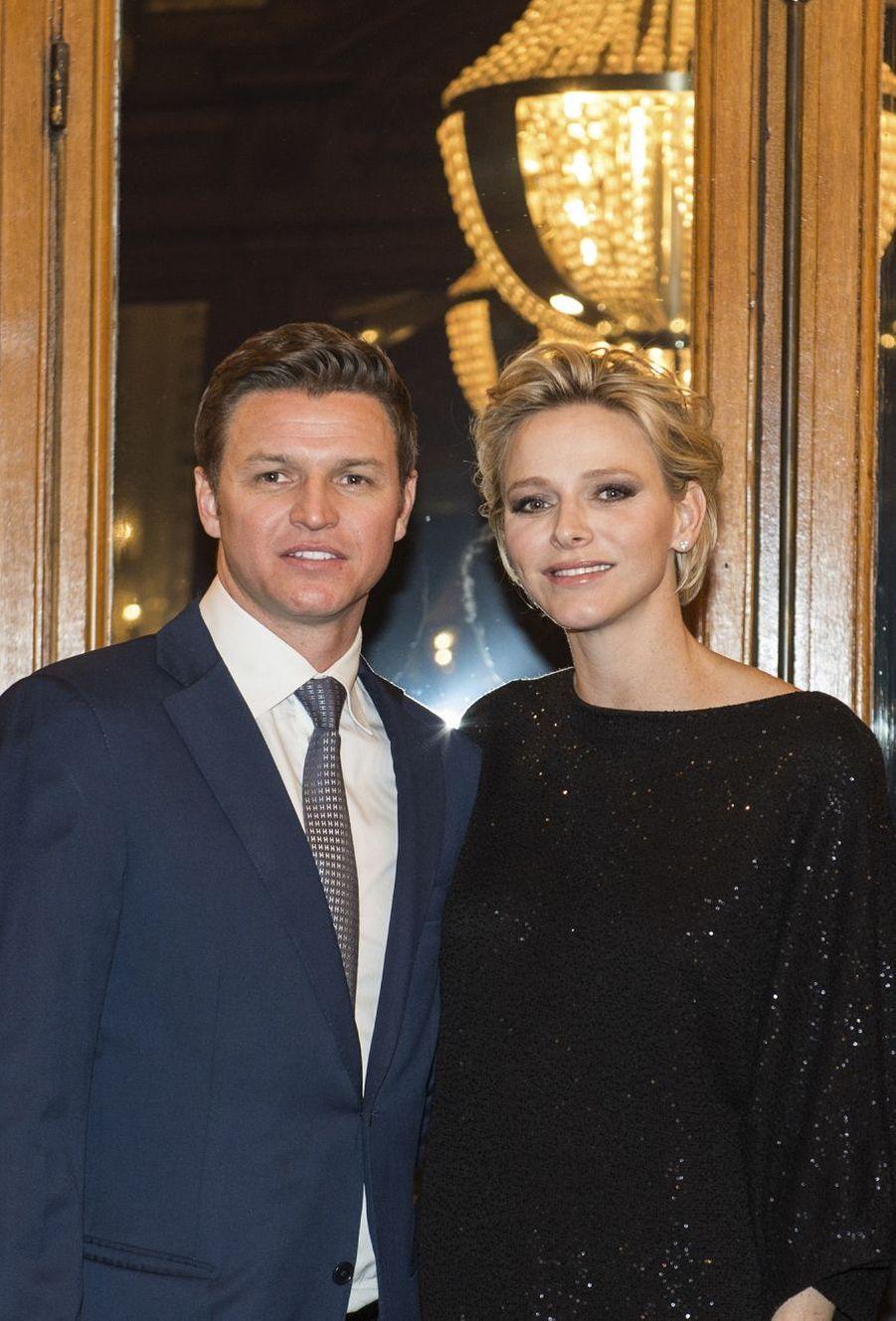 La Princesse Charlène de Monaco et son frère Gareth Wittstock, parrain de Gabriella