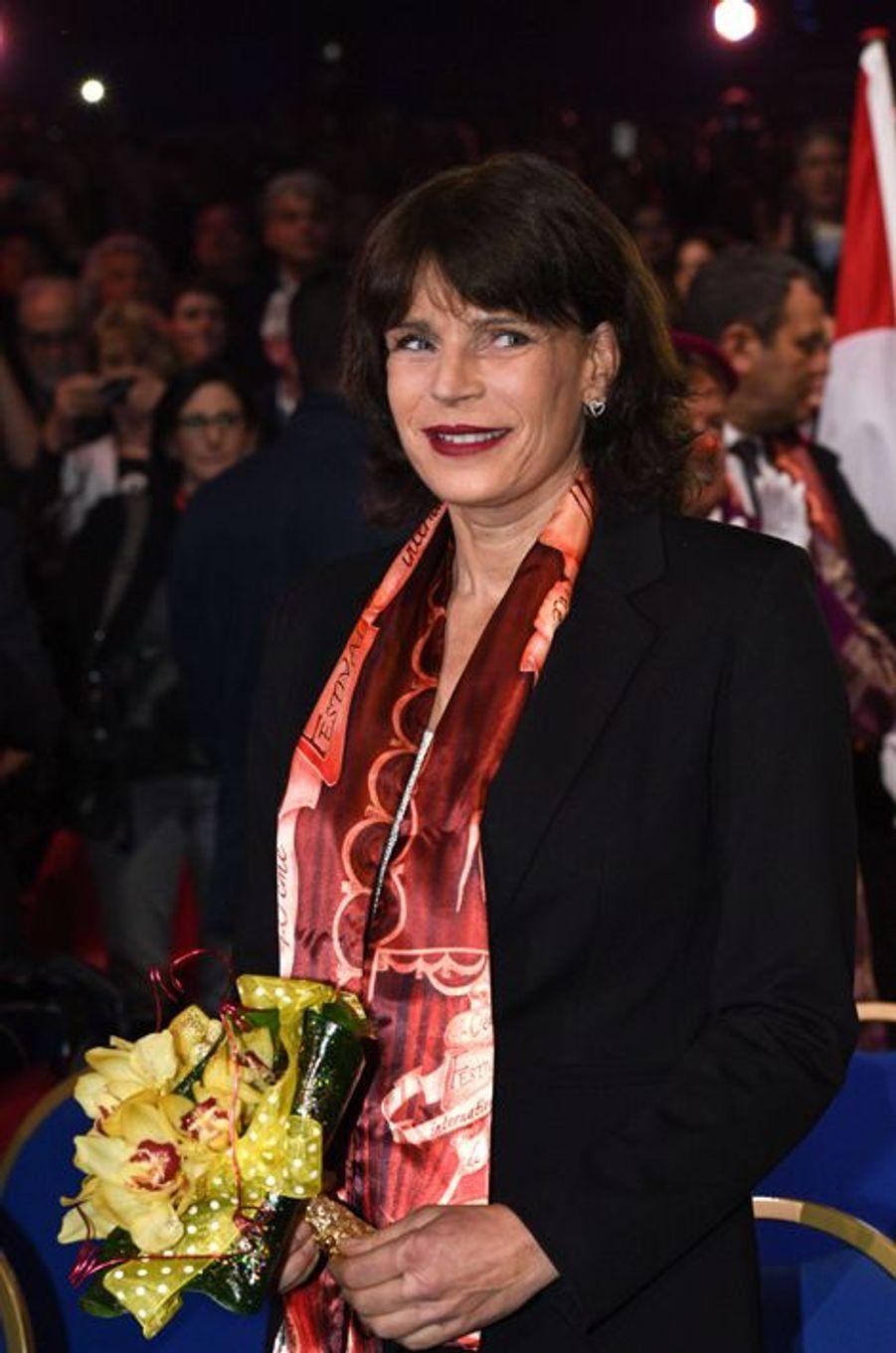 La princesse Stéphanie de Monaco au 40e Festival international du cirque de Monte-Carlo à Monaco, le 14 janvier 2016