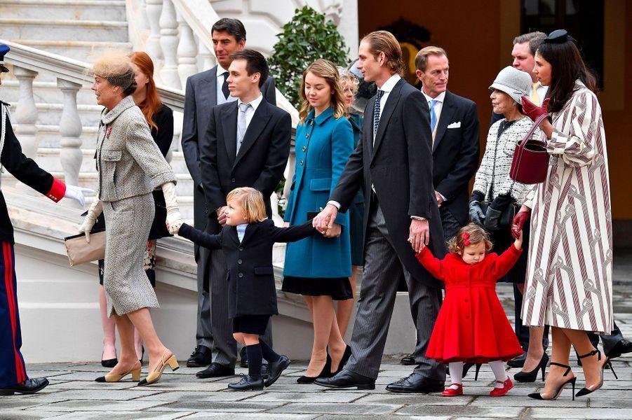 Au premier plan, Princesse Caroline de Hanovre, Sacha Casiraghi , Andrea Casiraghi, India Casiraghi , Tatiana Santo Domingo