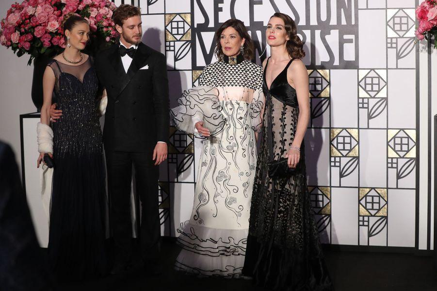 Beatrice Borromeo, Pierre Casiraghi, Caroline de Monaco et Charlotte Casiraghi au Bal de la Rose, le 18 mars 2017.