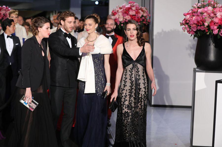 Beatrice Borromeo, Pierre Casiraghi et Charlotte Casiraghi au Bal de la Rose, le 18 mars 2017.