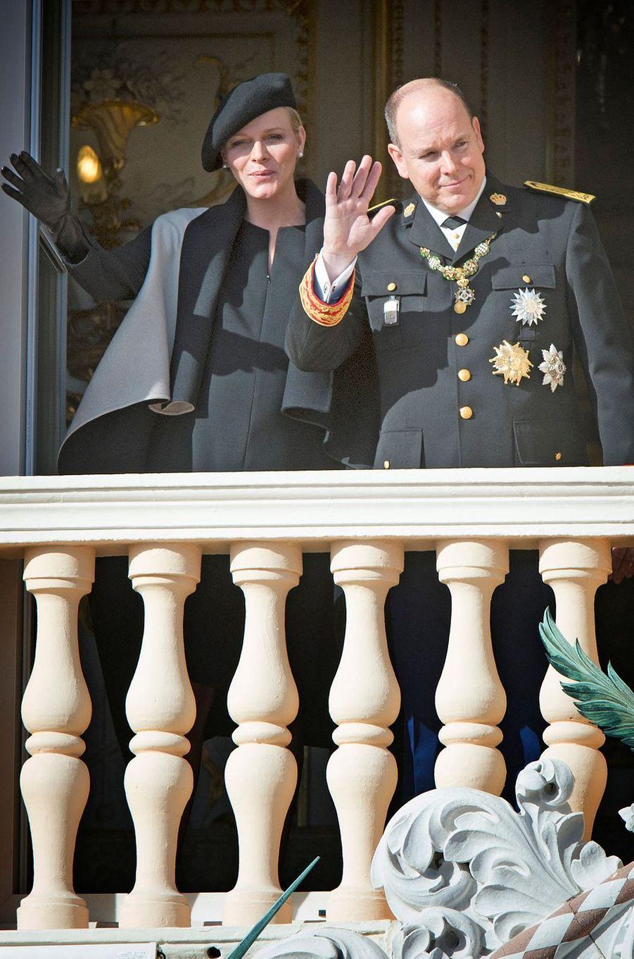 La princesse Charlène de Monaco en Akris, le 19 novembre 2014