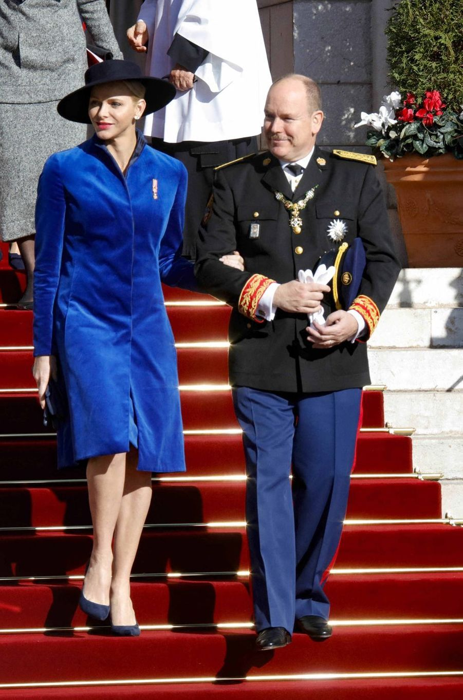 La princesse Charlène de Monaco en Akris, le 19 novembre 2017