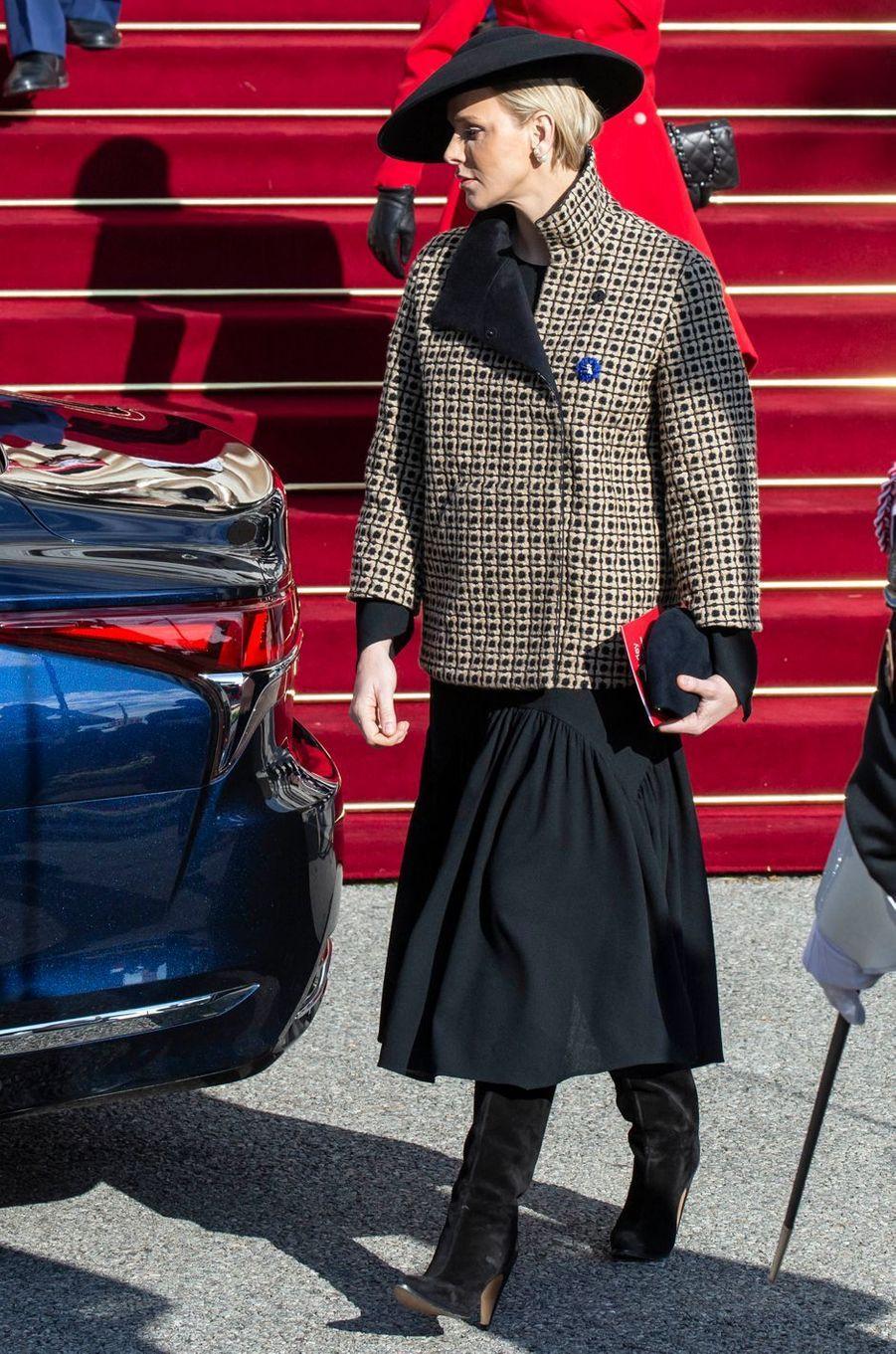 La princesse Charlène de Monaco en Akris, le 19 novembre 2018