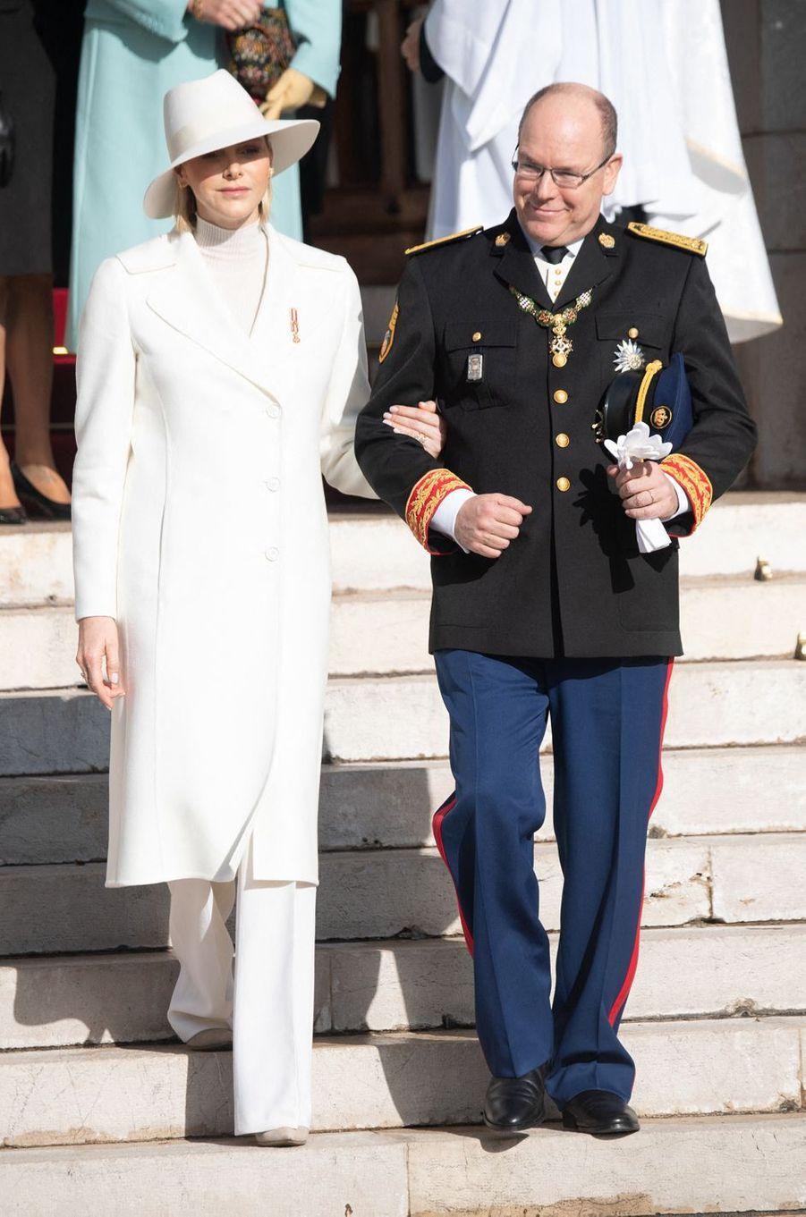 La princesse Charlène de Monaco en Akris, le 19 novembre 2019