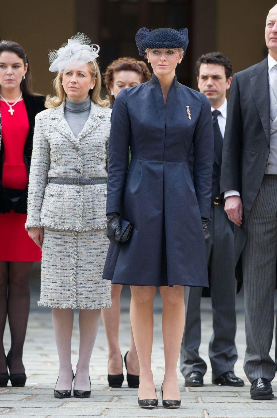 La princesse Charlène de Monaco en Akris, le 19 novembre 2012