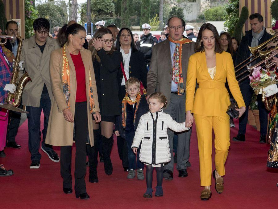 La princesse Gabriella et le prince Jacques de Monaco avec le prince Albert II, la princesse Stéphanie, Pauline Ducruet et Camille Gottlieb à Monaco, le 20 janvier 2019