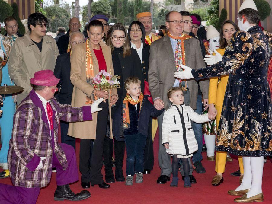 La famille princière de Monaco à Monaco, le 20 janvier 2019