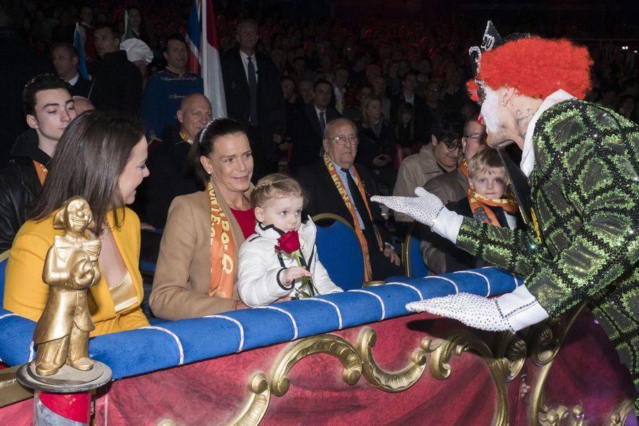 La princesse Gabriella avec la princesse Stéphanie de Monaco à Monaco, le 20 janvier 2019