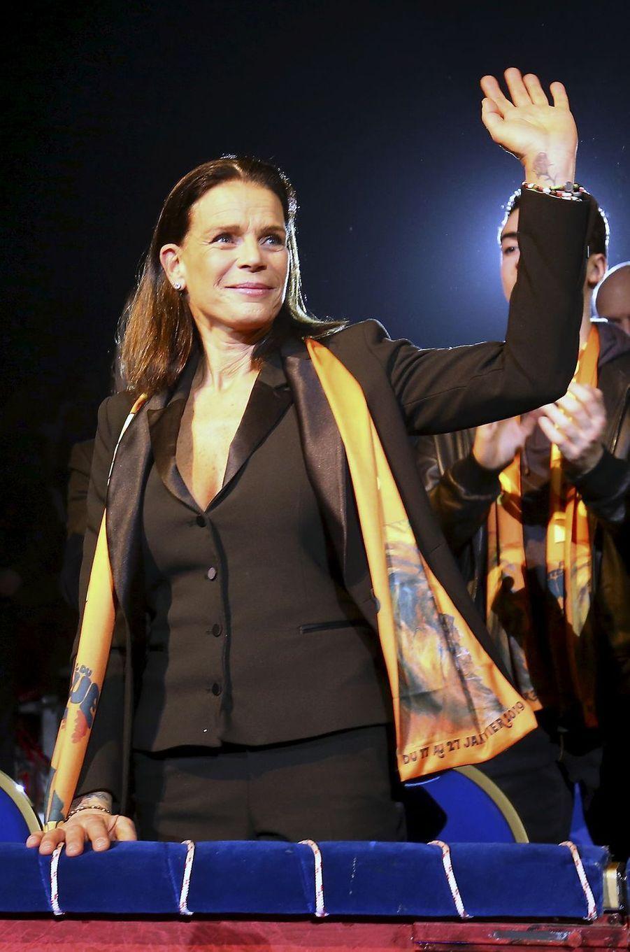 La princesse Stéphanie de Monaco au Festival international du cirque de Monte-Carlo, le 17 janvier 2019