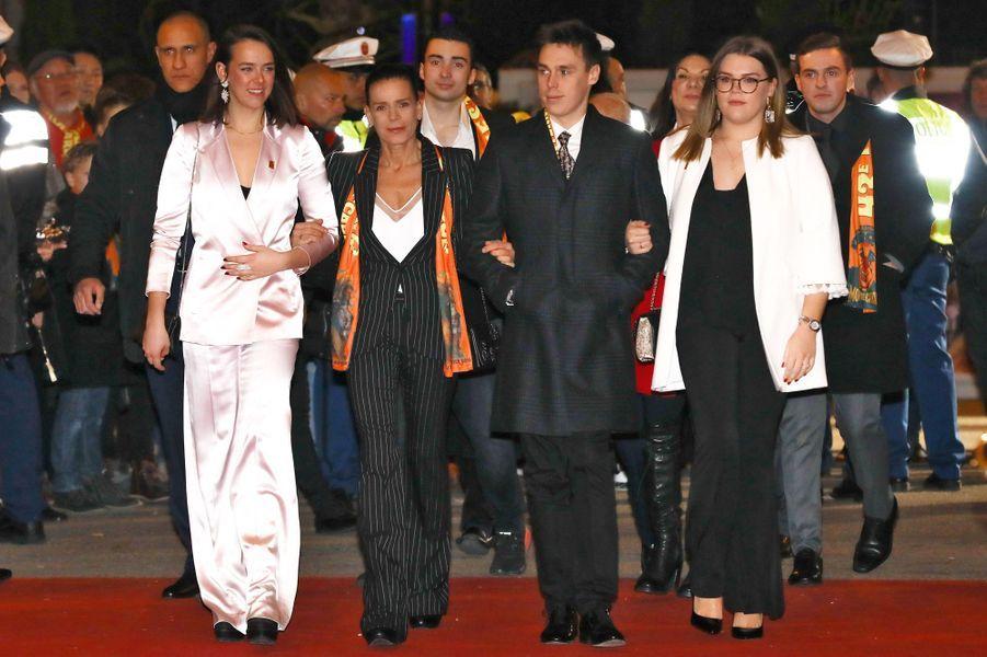 Le look de la princesse Stéphanie de Monaco au Festival international du cirque de Monte-Carlo, le 18 janvier 2019