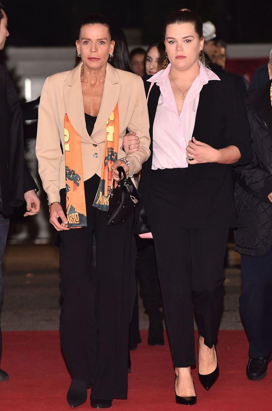 Le look de la princesse Stéphanie de Monaco au Festival international du cirque de Monte-Carlo, le 19 janvier 2019