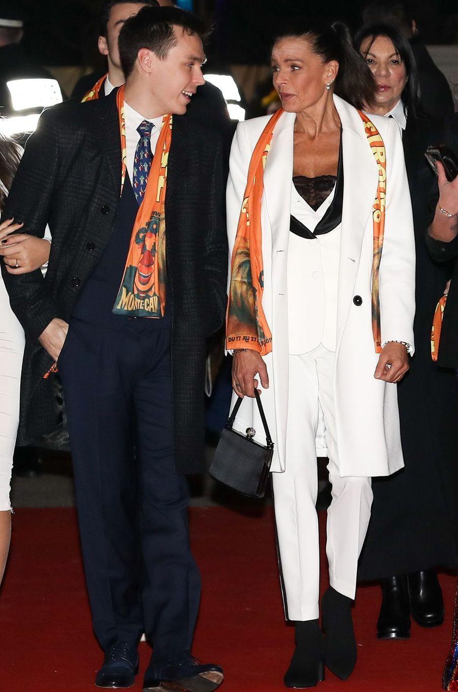 Le look de la princesse Stéphanie de Monaco au Festival international du cirque de Monte-Carlo, le 20 janvier 2019