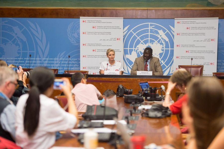Charlène en conférence de presse, vendredi à Genève