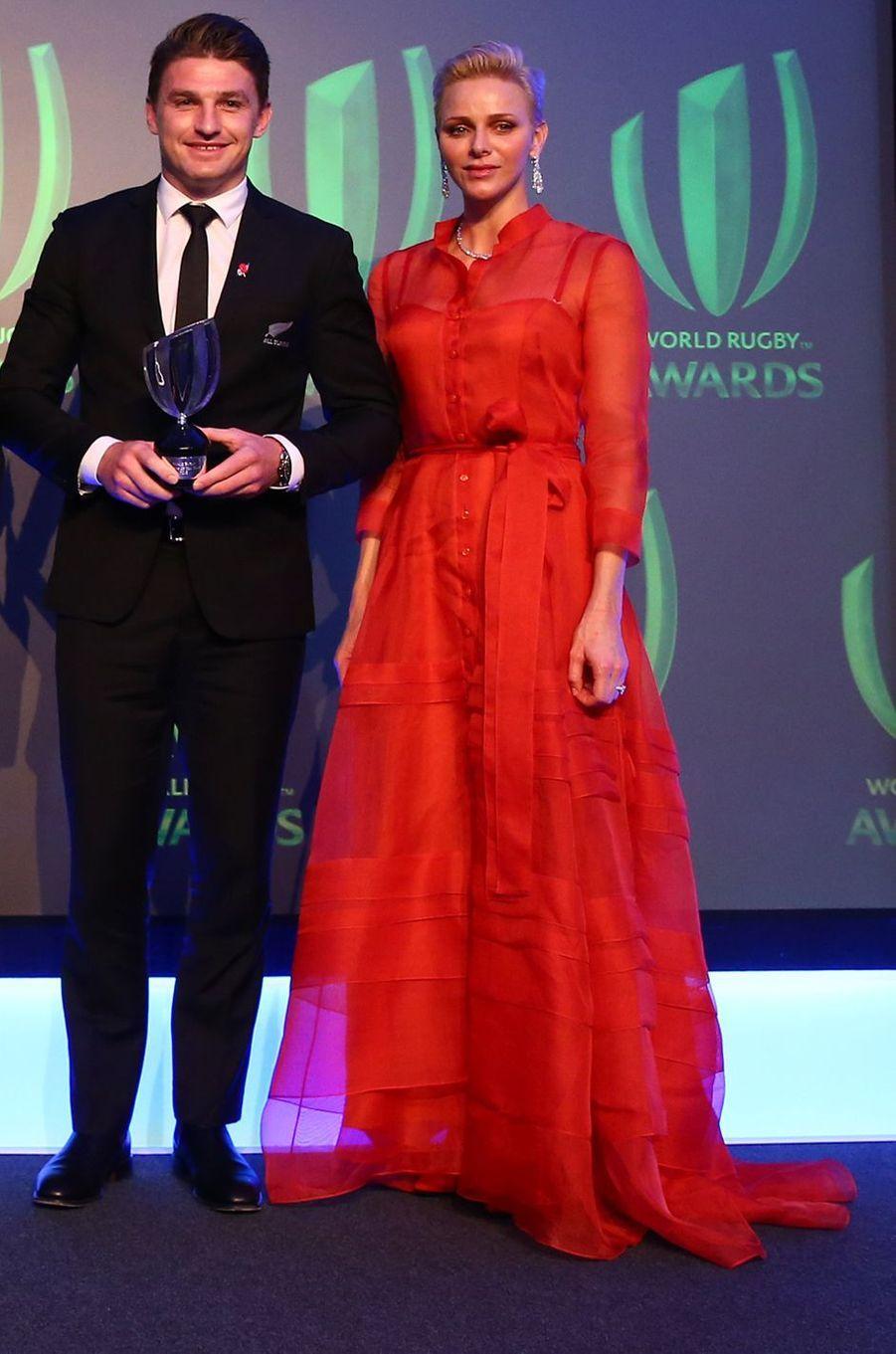 La princesse Charlène de Monaco à la cérémonie des World Rugby Awards à Londres, le 13 novembre 2016