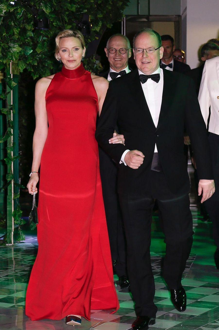 La princesse Charlène de Monaco au dîner du gala du 77e Grand Prix de Monaco, le 26 mai 2019