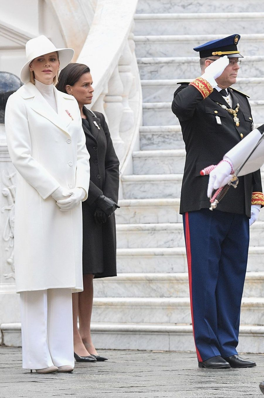 La princesse Charlène de Monaco en Akris à la Fête nationale à Monaco, le 19 novembre 2019