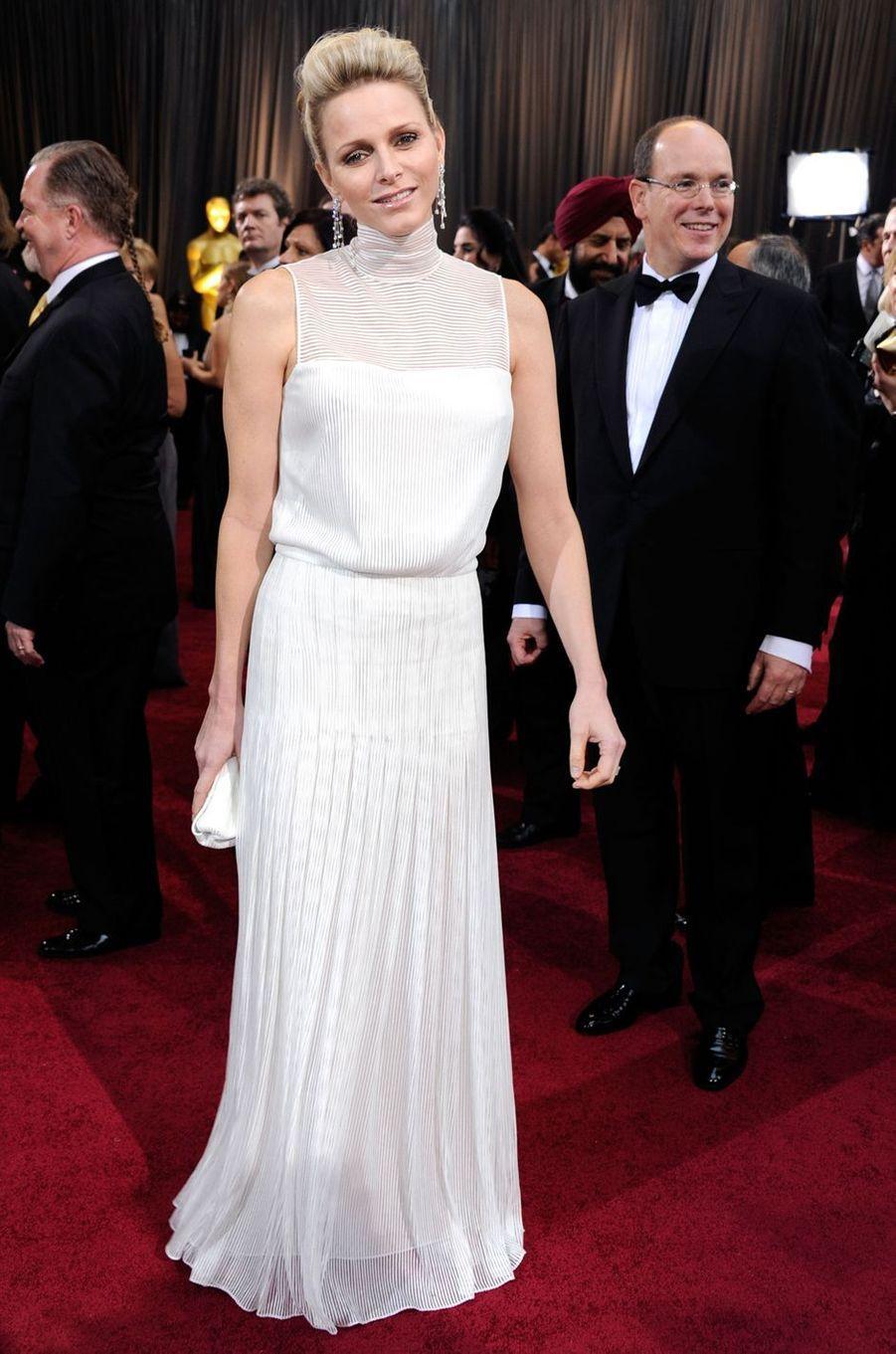 La princesse Charlène de Monaco en Akris lors de la cérémonie des Oscars à Los Angeles, le 26 février 2012
