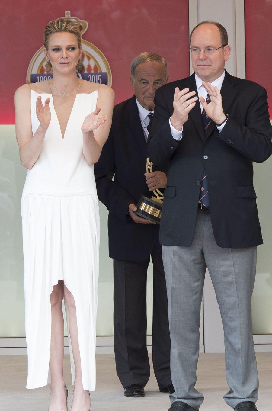 La princesse Charlène de Monaco en Akris au Grand Prix de Monaco, le 24 mai 2015