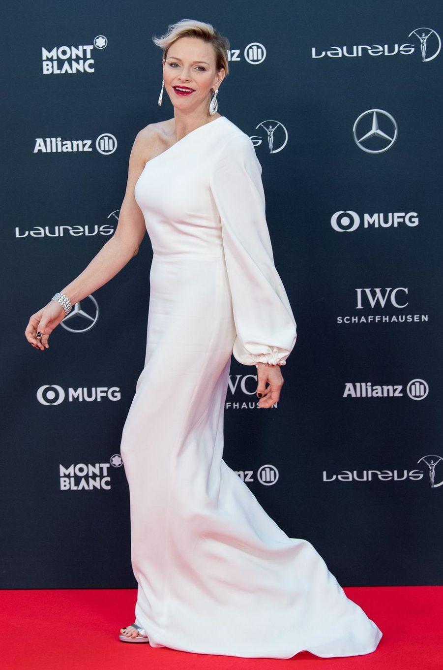 La princesse Charlène de Monaco en Stella McCartney à la remise desLaureus World Sports Awards à Monaco, le 27 février 2018