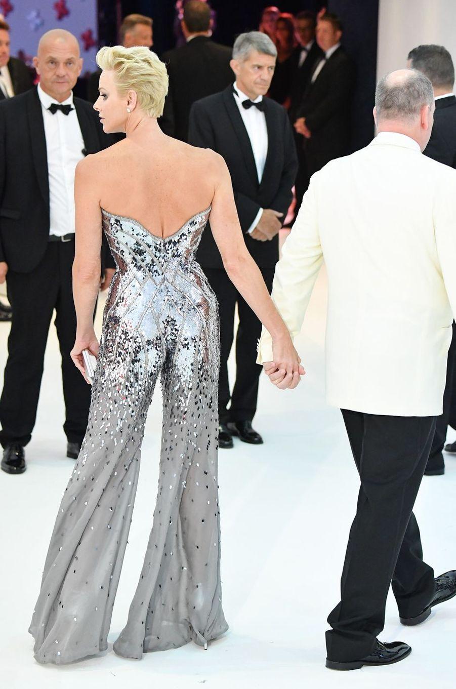 La princesse Charlène de Monaco, de dos, le 28 juillet 2017