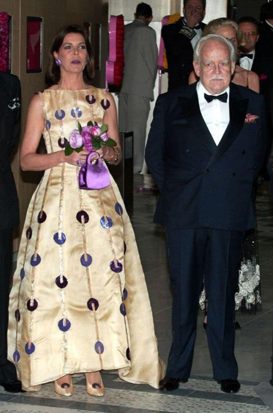 La princesse Caroline de Monaco au bal de la Rose 2002, avec le prince Rainier III