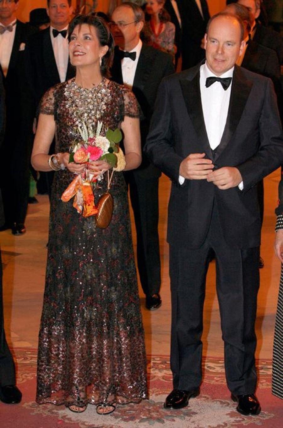 La princesse Caroline de Monaco au bal de la Rose 2007, avec le prince Albert II