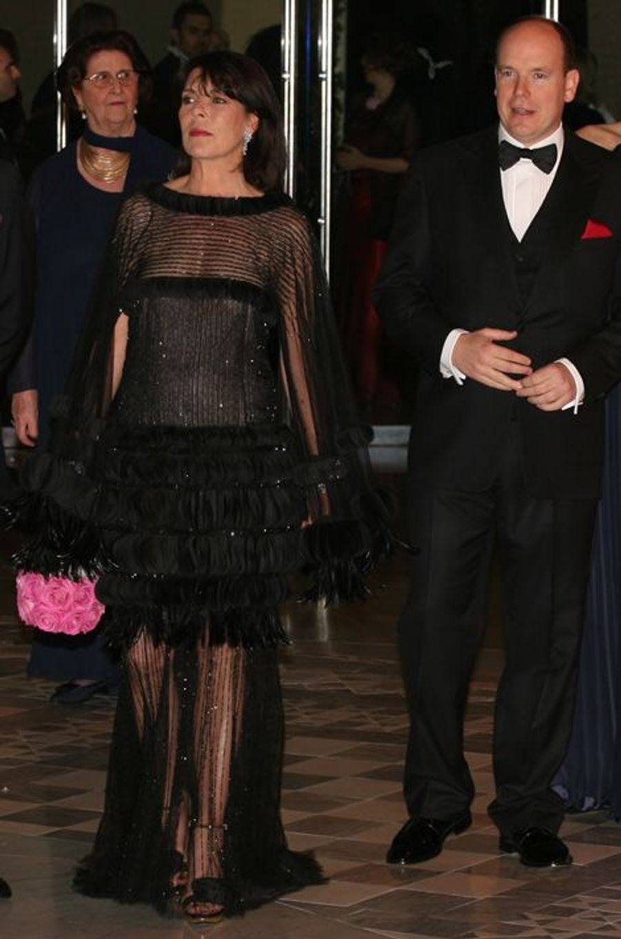 La princesse Caroline de Monaco au bal de la Rose 2008, avec le prince Albert II