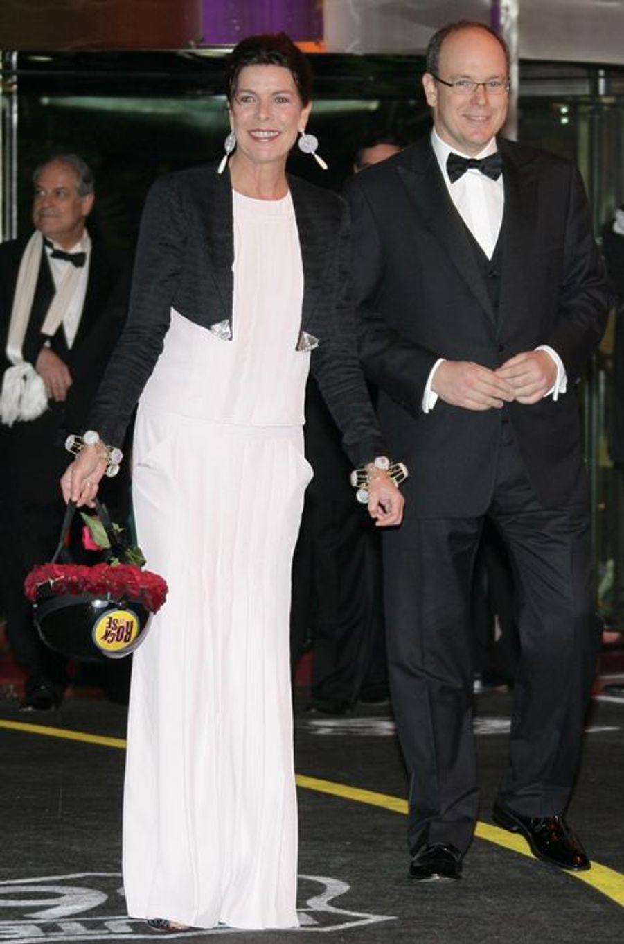 La princesse Caroline de Monaco au bal de la Rose 2009, avec le prince Albert II