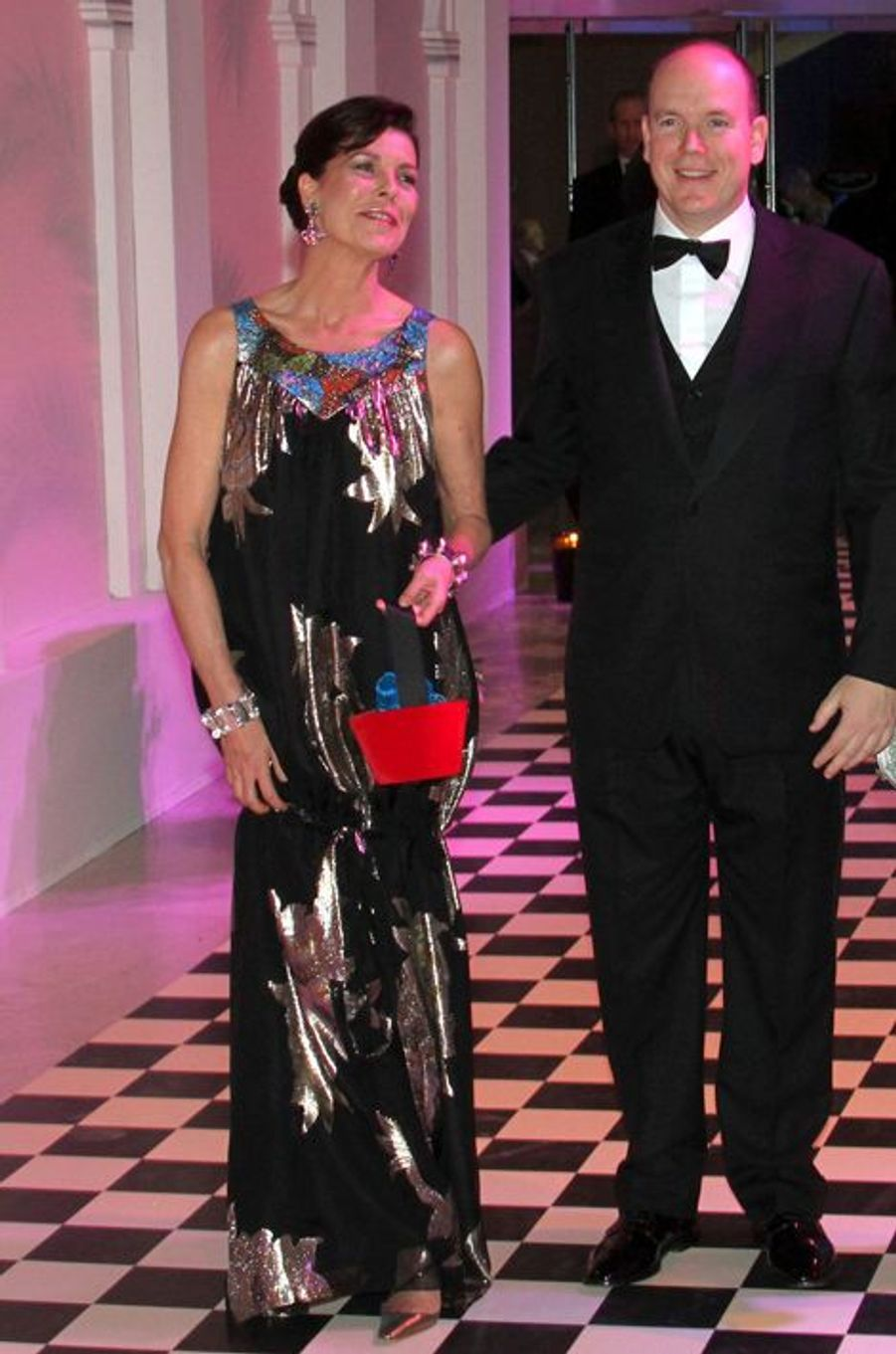 La princesse Caroline de Monaco au bal de la Rose 2010, avec le prince Albert II