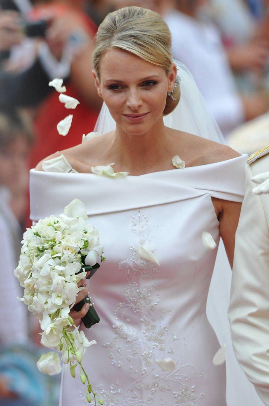 La princesse Charlène de Monaco, à Monaco le 2 juillet 2011