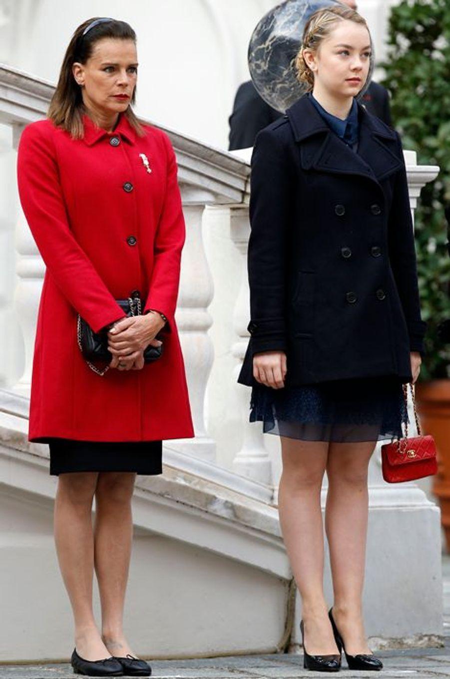 Les princesses Stéphanie de Monaco et Alexandra de Hanovre à Monaco, le 19 novembre 2015