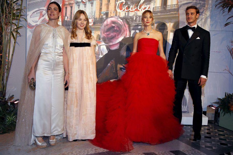 Charlotte Casiraghi, la princesse Alexandra de Hanovre, Pierre Casiraghi et sa femme Beatrice Borromeo à Monaco, le 19 mars 2016